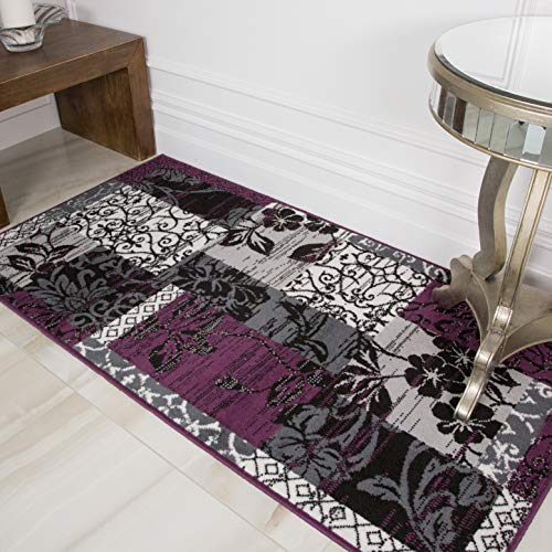 "Milan Purple, Black & Gray Patchwork Area Rug 1568-H33-2'6"" x 5'0"""