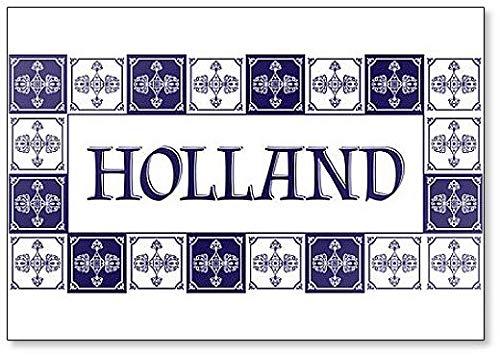 Holland Travel Illustratie met Delfts Hollandse Tegels Patroon Klassieke Koelkast Magneet