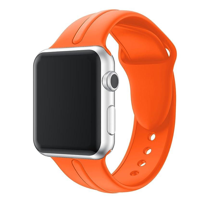 クリーナーブレイズ百年PINHEN For Apple Watch バンド 高級シリコン製 apple watch series4/3/2/1に対応 スポーツベルト3節 軽量 通気 交換ストライプ 11色 (38mm/40mm, オレンジ)