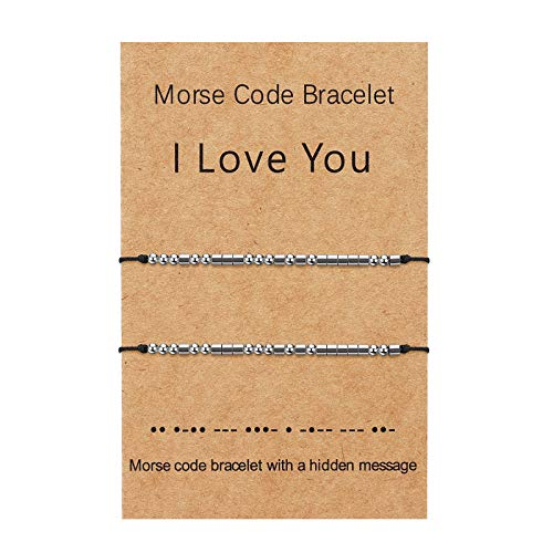 I Love You Morse Code Bracelet Couples Matching Bracelets Relationship Beads Bracelet Set Jewelry Gifts for Mother Daughter, Him and Her, Boyfriend and Girlfriend, Men Women