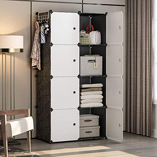 YOZO Portable Closet Clothes Dresser Modular Wardrobe Garment Rack Polyresin Storage Organizer Bedroom Armoire Cubby Shelving Unit Multifunction Cabinet DIY Furniture, Black, 8 Cubes