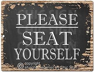 Chic Sign PLEASE SEAT YOURSELF Tin Rustic Vintage style Retro Kitchen Bar Pub Coffee Shop Decor 9