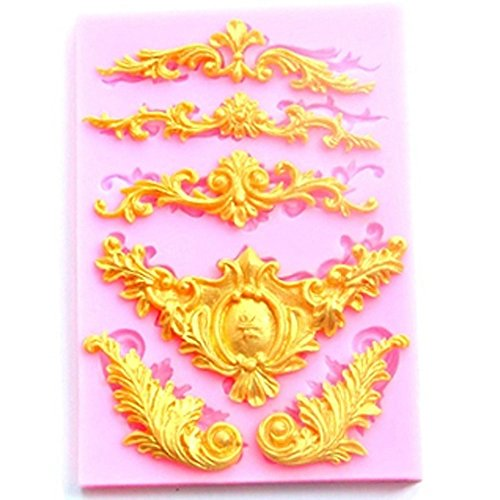 Yalulu Relief Spitze Barock Blumenrebe Form Silikon Formen, 3D Silikon Backform für Kuchen-Fondant Dekorieren