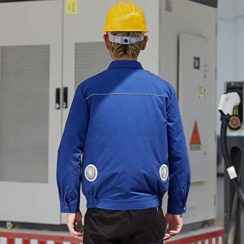YYH Klimaanlage Kleidung Für High Temp Worker Frauen/Männer, Kühljacke Mit Lüftern Für Arbeiten Außerhalb Im Sommer Klimatisiert Mantel,Blau,L