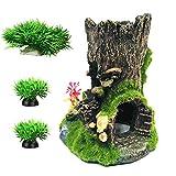 Decoraciones de tanque de pescado Decoración de acuario pequeños adornos accesorios escondites bosques/árbol casa conjunto (conjunto verde)