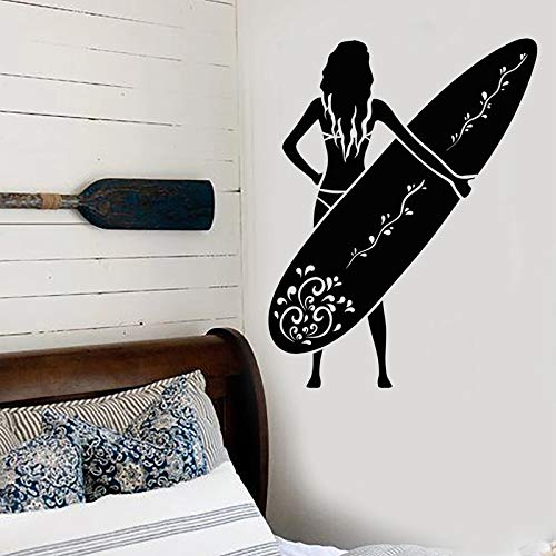 Pegatina de pared de surf calcomanía de playa pegatinas de deportes acuáticos surfista chica mural calcomanías de tabla de surf decoración de baño decoración de habitación de niñas-42x54cm
