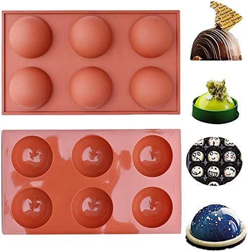 2pcs Semi Sphere Silicone Mold Baking Mold for Making Hot Chocolate Bomb Cake Jelly Dome Mousse
