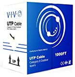 VIVO Black 1,000ft Bulk Cat6, CCA Ethernet Cable, 23 AWG, UTP Pull Box, Cat-6 Wire, Waterproof, Outdoor, Direct Burial CABLE-V007