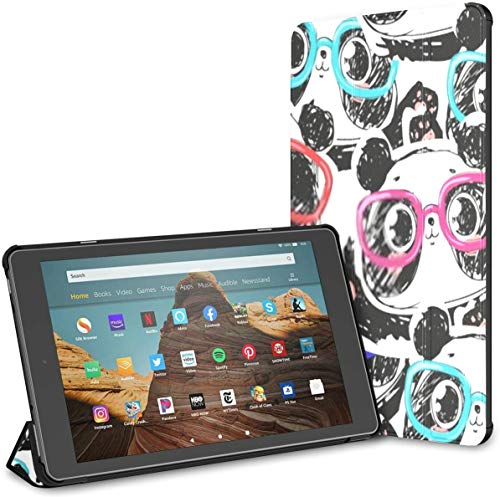 Case for All-New Amazon Fire Hd 10 Tablet (7th and 9th Generation,2017/2019 Release),Slim Folding Stand Cover with Auto Wake/Sleep for 10.1 Inch Tablet, Seamless Hand Drawn Panda Glasses Pattern