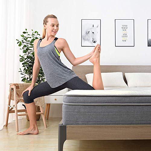 Sweetnight 10 Inch Queen Mattress In a Box  Sleep Cooler with Euro Pillow Top Gel Memory Foam Individually Pocket Spring Hybrid Mattresses for Motion Isolation CertiPURUS Certified Queen Size