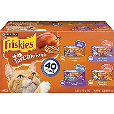 Purina Friskies Gravy Wet Cat Food Variety Pack, TurChicken Extra Gravy Chunky, Meaty Bits & Shreds - (40) 5.5 oz. Cans