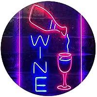 Wine Bar Display Dual Color LED看板 ネオンプレート サイン 標識 青色 + 赤色 210 x 300mm st6s23-i3589-br