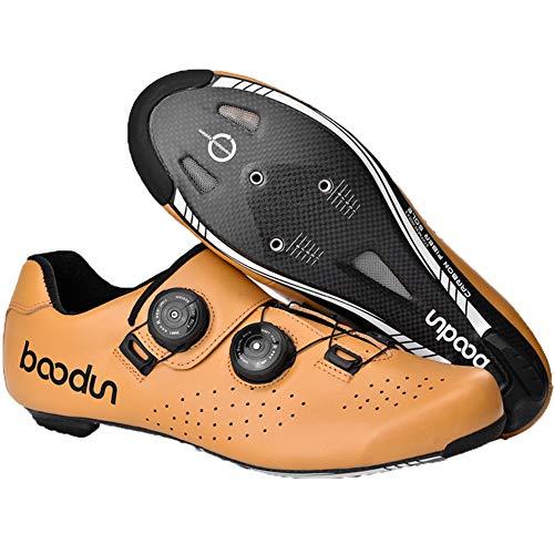 boodun Scarpe da Ciclismo su Strada da Uomo Scarpe da Bici da MTB Unisex per Adulti,Suola - Fibra di Carbonio,Yellow-8UK/9US/42EU