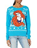 Disney Women's Ugly Christmas Sweater, Ariel/Blue, Large