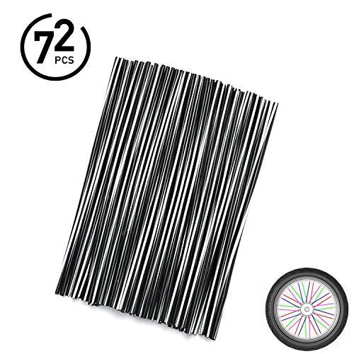 72Pcs Universal Spoke Skins Cover - Ovelur Wheel Spoke Wraps Skins Pipe Trim Decoration Protector For Motorcycle Dirt Bike Yamaha Honda Harley Suzuki(Black and White)