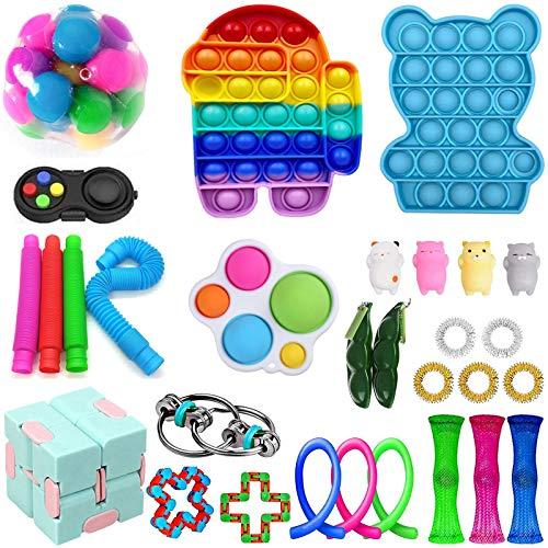 iSayhong Sensory Fidget Toys Set, verlicht stress en angst Fidget speelgoed voor kinderen volwassenen, kubus Top Toy Set, speciaal speelgoed assortiment voor verjaardagsfeestje gunsten - - Een maat