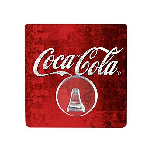 WENKO Static-Loc® Wandhaken UNO Coca-Cola Classic - Handtuch-Haken, Befestigen ohne bohren, Kunststoff (PET), 8 x 8 cm, Mehrfarbig