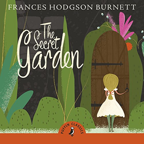 The Secret Garden cover art, a digital image of a girl approaching a doorway in a garden wall