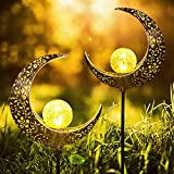 2 X Solarlampen für Außen Mond,LUOWAN Solargartenleuchten Solar Lampe Gartenlampen IP55 Wasserdichte Außen Verzierungen, Langzeitarbeit für Garten Deko, Rasen, Terrasse, Balkon, Backyard Dekoration