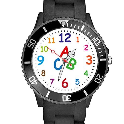 Taffstyle Kinder Armbanduhr Silikon Sportuhr Bunte Sport Uhr Kinderuhr Lernuhr Zahlen ABC Motiv Analog Schwarz