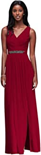 Long Mesh Bridesmaid Dress with V-Neck and Beaded Waistband Style W11092