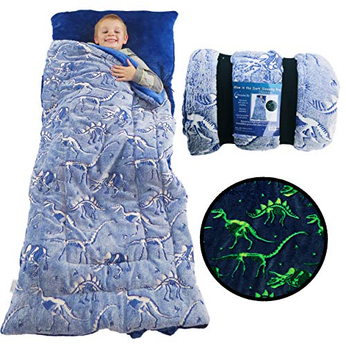 Dinosaur Sleeping Bag Glow in The Dark Dino Slumber Bag