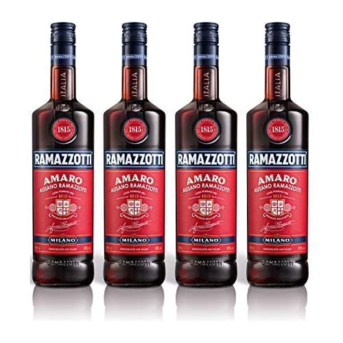 Ramazzotti Amaro Kräuterlikör 4er Set, Schnaps, Spirituose, Italienischer Likör, Alkohol, Flasche, 30%, 4x1 L