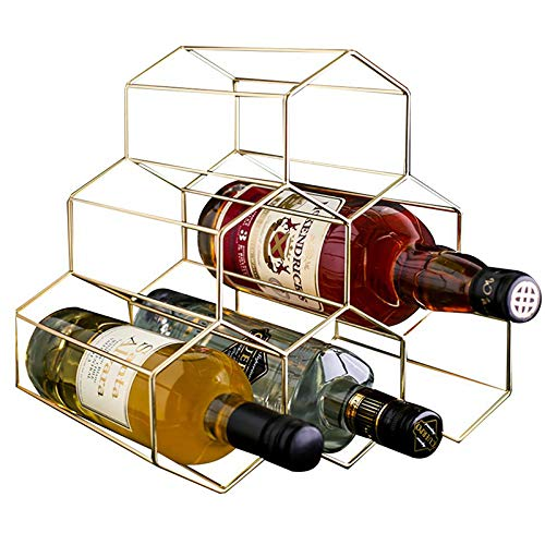 PENGKE Wine Rack Freestanding Wine Rack,6 Bottles Countertop Free-Stand Wine Storage Holder Protector for Red White Wine