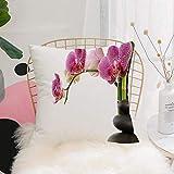 Purer Weicher Kissenbezug Kissenhülle Set,, Spa Steine mit Orchideen und Bambusstielen Yoga...