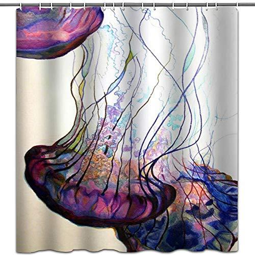 hipaopao Ocean Duschvorhänge Meerestier Quallen Stoff Duschvorhang-Sets Badezimmer Dekor mit Haken Wasserdicht Waschbar 182,9 x 182,9 cm Weiß Lila Blau