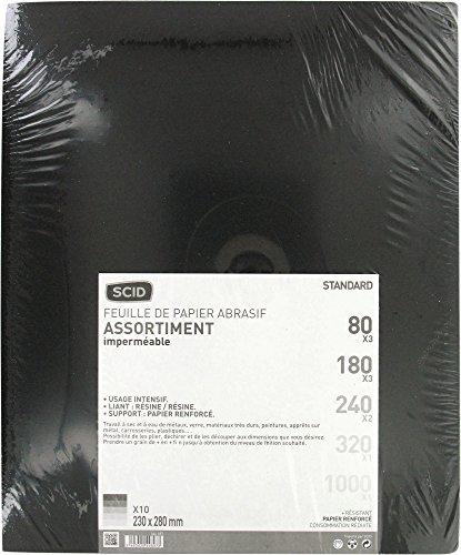 Papier imperméable SCID - Grain 80, 180, 240, 320, 1000 - Vendu par 10
