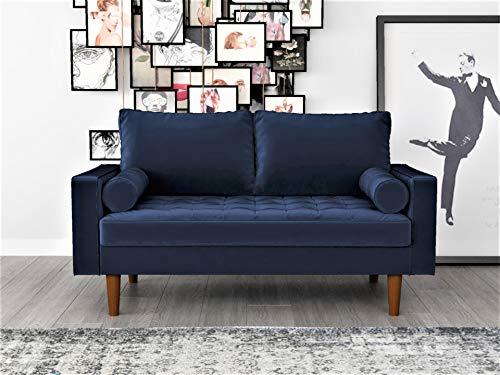 "Container Furniture Direct S5455 Mid Century Modern Velvet Upholstered Tufted Living Room Loveseat, 57.87"", Space Blue"