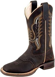 Old West Dark Brown Kids Boys Leather Saddle Cowboy Boots 13.5D