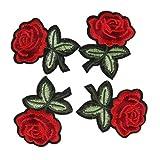 Oulensy 5pcs Rose Flor del Bordado Parches Hierro en Bricolaje Apliques Bordados...