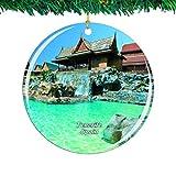 Weekino España Siam Park Tenerife Navidad Ornamento Ciudad Viajar Recuerdo Colección Doble Cara Porcelana 2.85 Pulgadas Decoración de árbol Colgante