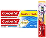Colgate Total Whitening Toothpaste Twin Pack and Advanced 4-Zone Toothbrush, Soft
