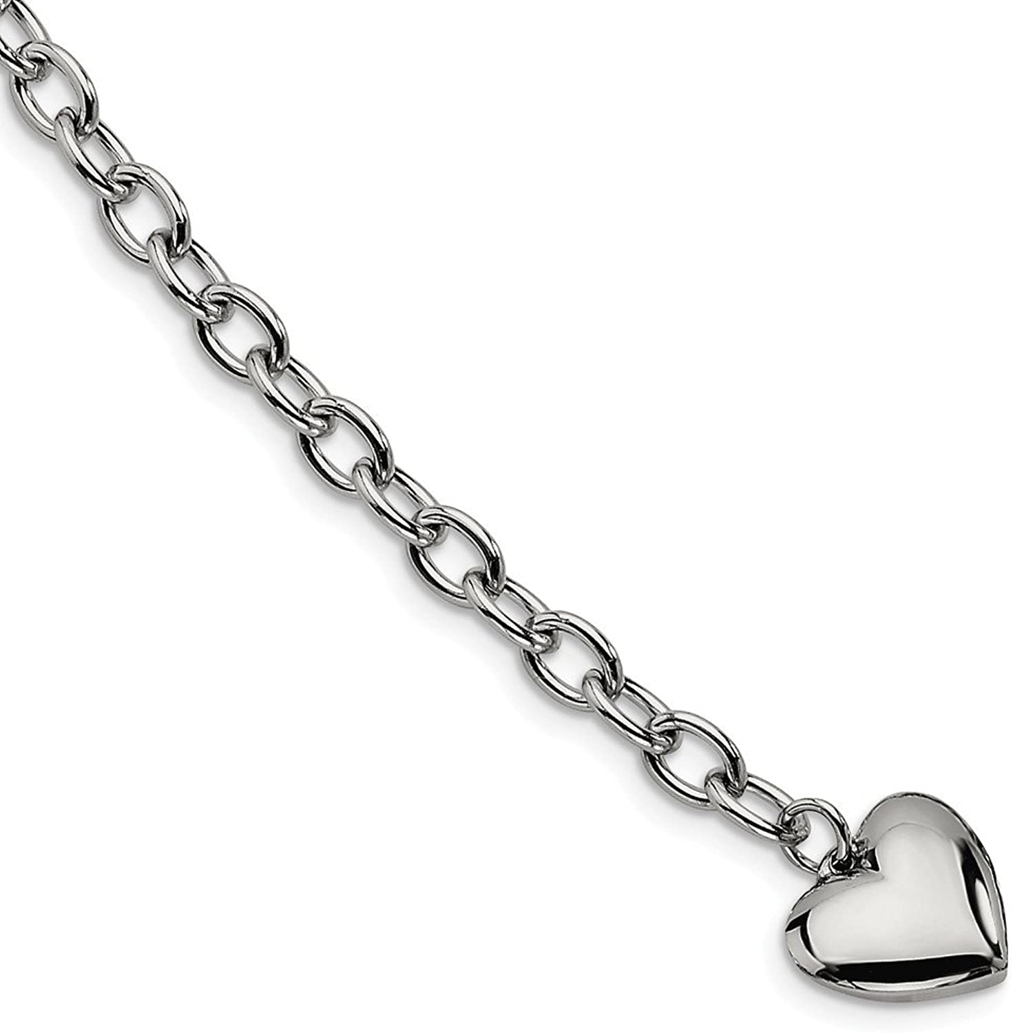 Beautiful Stainless Steel Polished Open Link w Heart 8.5in Bracelet
