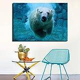 QWESFX Schwimmen Eisbär Wandposter Große Größe Für Kinderzimmer Dekor Realist Tier Modern Home Decor Leinwand Gemälde Für Wohnzimmer (Drucken Kein Rahmen) D 60x90CM