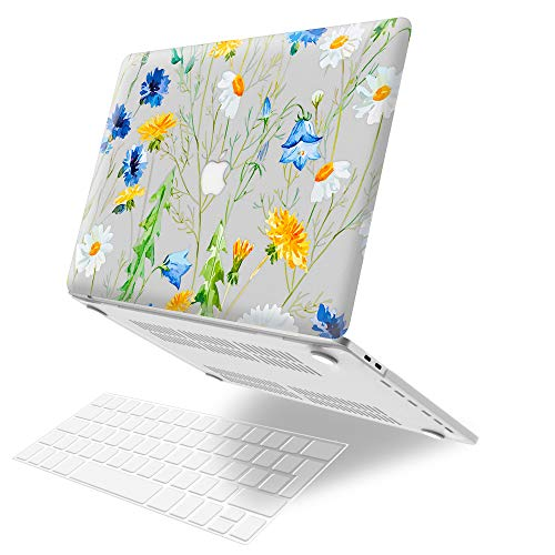 MacBook Pro 15 inch Case 2019 2018 2017 2016 Release A1990 A1707, JGOO Plastic Hard Shell Case with Keyboard Cover Compatible with Macbook Pro 15 Inch with Touch Bar and Touch ID, Daisy Flower