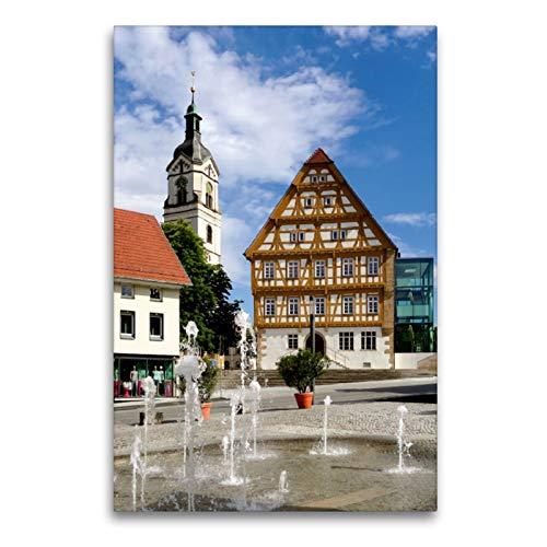 CALVENDO Premium Textil-Leinwand 60 x 90 cm Hoch-Format Neuhausen a.d.F, Pfarrkirche und Schloss-Scheuer, Leinwanddruck von Klaus-Peter Huschka