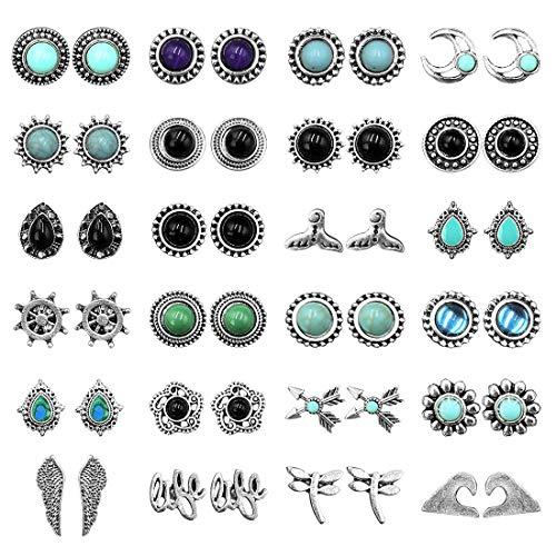 tmtonmoon Damen Ohrringe 24 Paar Retro Elegant Türkis Edelstein Böho Ohrstecker Klassisch Elegant Schmuck Geschenk für Frauen Mädchen