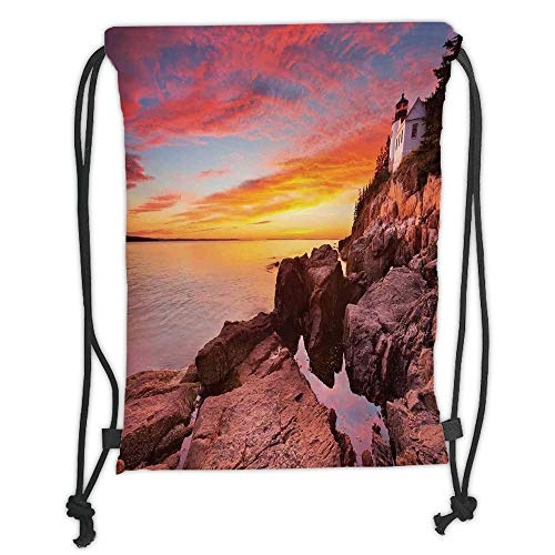 Fevthmii Drawstring Backpacks Bags,National Parks Home Decor,Lighthouse on The Harbor Sea Shore with Horizon Sky New England Design,Multi Soft Satin,5 Liter Capacity,Adjustable String Closu ⭐