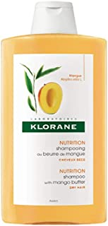 Klorane Nourishing Shampoo with Mango Butter, Moisturize and Hydrate Dry Hair, Paraben, Silicone, SLS Free, 13.5 oz.