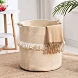 YOUDENOVA Large Woven Rope Storage Basket, Baby Nursery Hamper for Toy&Clothes, Beige Decorative Blanket Basket with Cute Knot Handles & Tassel, Boho Laundry Hamper for Living Room, 15.7 inchx16.9 inch