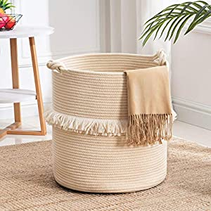 """YOUDENOVA Large Woven Rope Storage Basket, Baby Nursery Hamper for Toy&Clothes, White Decorative Blanket Basket with Cute Knot Handles & Tassel, Boho Laundry Hamper for Living Room, 15.7""""x16.9"""""""