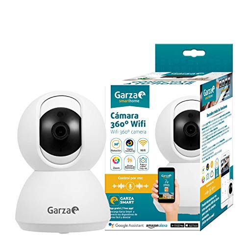 Garza Smarthome Wifi 360 IP Camera Compatibel met Alexa Apparaten met Display en Google Chromecast 720P HD Smart Camera, Ingebouwde Microfoon en Nachtzicht