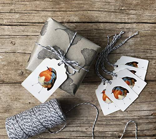 Rotkehlchen Set 6 Geschenk Anhänger, Schildchen aus Papier, kleiner Garten-Vogel digital Druck, Aquarell Papeterie mit Vogel-Motiv, Lesezeichen