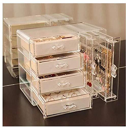 YIJOY Schmuck Aufbewahrungsbox Samt transparente Acryl Aufbewahrungsbox mit 6 Schubladen für Ohrringe Armbänder Halsketten und beige Mädchen Ringhalter für Hochzeiten Geburtstagsgeschenke