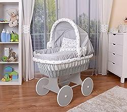 Rosa//Weiß WALDIN Baby Bollerwagen,Stubenwagen,komplett mit Zubehör,XXL NEU !!