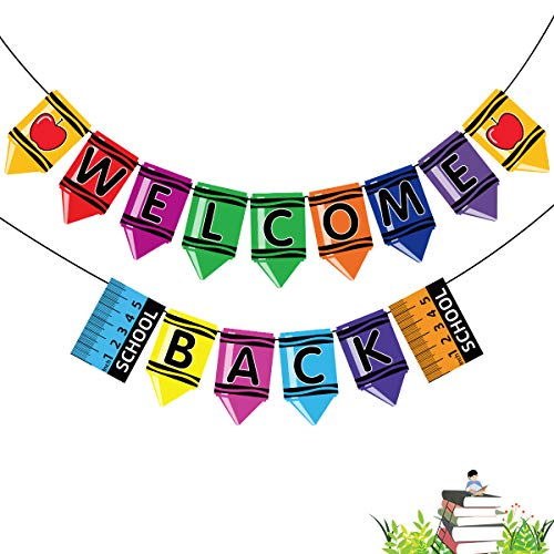 MISS FANTASY Back to School Banner,Back to School Decorations Welcome Back Banner Welcome Classroom Banner Decoration Pencil Garland Crayon Banner for First Day of School Party Decoration